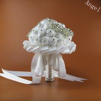 Wholesale Handmade Rose New Bridal Bouquet White Silk Wedding Flowers Accessories Brooch Crystal Bridesmaid Holding Bouquet Flowers