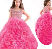 beauty angels girls - 2017 Puffy Angel Luxury Girls Pageant Gowns Beauty Pageant Dresses For Children Kids Ball Gowns Princess Party Dresses Ruffles Cute