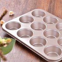 aluminum cupcake pans - 12 Cup Carbon steel Mini Muffin Mini Cupcake Baking Pan Non Stick Carbon steel Mold golden