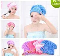 Wholesale Microfiber Magic Hair Dry Drying Turban Wrap Towel Hat Cap Quick Dry Towel Quick Dry Shower cap