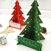 Wholesale Christmas Tree Paper Gift Cards Three dimensional Greeting Card Merry Christmas Party Decoration Supplies Gift Cards