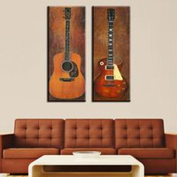 abstract music pictures - 2 piece music studio room guitar top decorative wall paintings for home decor idea oil painting art print on canvas No Framed