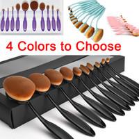 Wholesale New Hot Professional Makeup Brushes Sets Oval Brushes Toothbrush Shape Make up Eyeshadow Blusher Tool Kit Foundation Contour Face Brush Sets