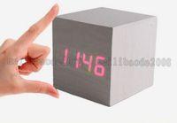alarm clock cheap - Cheap Cube Wooden LED Alarm Clock Temperature Sounds Control display electronic desktop Digital Wooden table clocks Creative home MYY