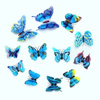 Wholesale Wall Stickers Simulation D Butterfly color Double layer butterfly suit D Sticker can be Removable and