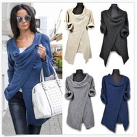 Wholesale The Autumn Of The New European And American Fashion Solid Color Loose Long sleeved Irregular Stitching Knitted Jacket Sweaters B