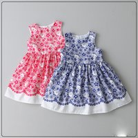 baby bear blue - 2017 New Girls Cartoon Bear Floral Print Dress Cute Baby Girl Party Dresses Western
