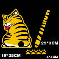 Wholesale 19CM CM Reflective Tape cute Cat Car Stickers Car Accessories Car Styling and Decals Removable Waterproof