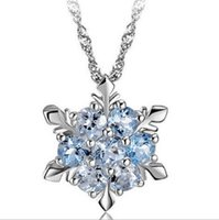 Wholesale Blue Crystal Snowflake Pendant Necklace Silver Pendant Necklace Frozen Style Snow Women Christmas Birthday Gift Jewelry Decoration Hot Sale