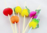 bbq party decorations - Fashion set Assorted Multicolor Plastic Fruit Cocktail Drinking Straw BBQ Hawaiian Party Theme Decoration