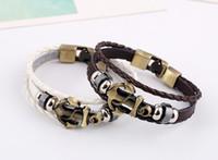 Acheter Bracelets en bois faits à la main-Nouveau cuir fait main en bois de perles de cire en alliage de la peau en peau de vache + + PU tissé en alliage d'ancre bracelet en cuir