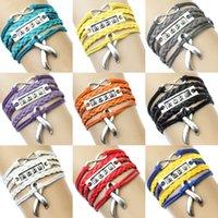 awareness bracelet purple - Pieces Infinity Love Disease Awareness Hope Ribbon Bracelet Grey Orange Yellow Blue Red Purple Multilayer Wrap Custom