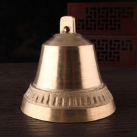 Wholesale 75MM Tuba Brass Hatch Horn Bell Doorbell Special purpose Pendant Guard Against Theft Feng Shui Bell Home Furnishing Resounding Wind Chime