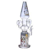 Free Type big cartoons - Soulton Glass percolator bongs Inch Cartoon colored big High borosilica glass bong Female Male14mm BO