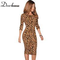animal lovers club - Dear lover Women Leopard animal Print Pencil Midi Dresses Low V Back women sexy Bodycon dress novidades vestidos LC6560