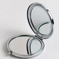Wholesale 200pcs mm Pocket Compact Mirror favors Round Metal Silver Makeup Mirror Promotional Gift