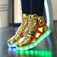Hot Sale Kids Sneakers Enfant Angel's Wings USB Charging Luminous LED Lights Chaussures Pour les enfants Casual Flat Girls Boy sports Chaussures