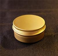 aluminium food container - g Gold Aluminium Jar Empty Food Lip Oil Container Cosmetic Cream Packaging Bottles