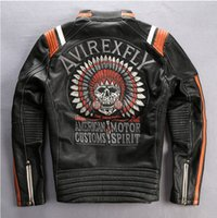 Wholesale vintage skull genuine leather motorcycle jacket men slim fit fashion leather jacket men black moto biker jacket male