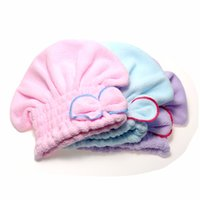 Wholesale 2016 Useful Hair Turban Wrapped Towel Hair Quickly Dry Hat Microfiber Home Textile Bathing Accessories