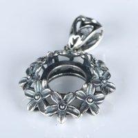 art nouveau - 10mm Round Cabochon Art Nouveau Vintage Sterling Silver Semi Mount Pendant Fine Silver Flower Women Charm Jewelry