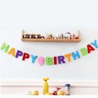 Tissu non tissé de gros-3M Drapeaux de lettre de joyeux anniversaire Drapeaux de bannière de Bunting pour des enfants Garçon Fille Anniversaire de bébé Décoration de fête