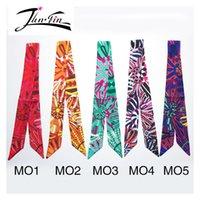 Scarves bandana ribbon - designer printed silk floral scarves scarf tubular pattern bandana ribbon twilly silk scarf women