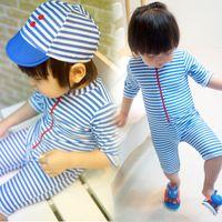 Wholesale Fashionable Stripes Children Swimsuit Kids Navy Wind Siamese Swimsuits Spa Children s Swimsuits Short Sleeve MC0568