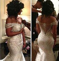 Wholesale 2016 Portrait Mermaid Organza Beading Backless Sequin Off Shoulder Bridal Gowns Sweep Train Wedding Dresses Custom Made Bridal Vestidos