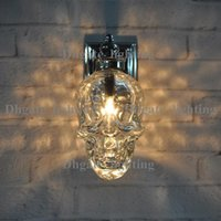 Wholesale Creative Skull Heads Wall Lamp Individuality Iron Art Wall Lamp EuropeanStyle Bedside Bedroom Living Room Loft Iron Wall Light