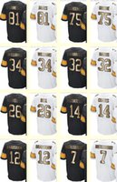 bell collection - 2017 Gold Collection Men s Greene James Williams Bell Franco Harris Bradshaw Roethlisberger Coates White Black jersey
