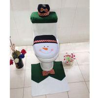 Cheap Wholesale-4pcs set New Year XMas Home Decoration Snowman Toilet Seat Cover Rug Mat Christmas Bathroom Pad Cusion Tissue Box Holder Set