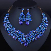 Wholesale Simple style Africa Jewelry set royal blue noble Necklace Earrings Jewelry set for party dress JW0058
