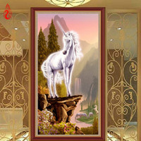 Wholesale YGS DIY D Diamond Embroidery White Unicorn Cute Horse Round Diamond Painting Cross Stitch Kit Mosaic Painting Home Decor