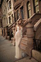 Wholesale 2017 Berta Sheath Wedding Dresses Open Back Deep V Neck Lace Appliques Sexy Crystal Beaded Bridal Dress Wedding Gowns