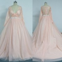 Wholesale 2016 A Line Champagne Tulle Party Dresses With Sexy Deep V Neck Sheer Lace Long Sleeve With Beaded Belt Prom Gowns Dhyz