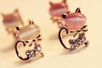 Wholesale Temperament of opal ShanZuan cute kitten stud earrings