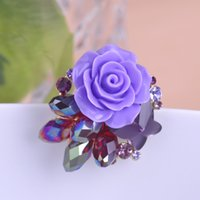 Compra Ramillete grande-Venta al por mayor- Violetta grande púrpura boda de cristal Rose Flores broches Bouquet Corsage bufanda Clip Hijab Pin Up broche Marca Diseñador Brocha