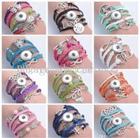 achat en gros de bracelets de charme lettres-12 styles 18MM Noosa bouton Snap Multilayer Infinity charme Lettres bracelets de bonbons en cuir PU bijoux de marque de mode pour les femmes