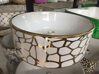 Wholesale Modern Bathroom Basin flower Wash Basin ceramic Bowl Glaze Spraying for Ceramic gold hand basin above counter mounting Oval shape