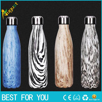 Wholesale New hot ml Stainless Stee Swell bottle Bowling sport drinking Water Bottle Vacuum Bottle Coffee Cup Wood Grain Cup as christmas gift