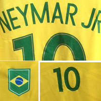 Wholesale 2016 Brazil Final Olympic Jersey Player issue Neymar Jr with custom patch badge