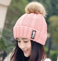 Wholesale 2017 new style wollen cap pom poms winter hat for women girl s hat knitted beanies cap brand new thick female cap