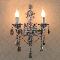 Classical antique brass bathroom lighting - antique silver wall sconces Vintage Crystal Wall Lights led lighting Brass classic wall lamps led mirror lights bathroom