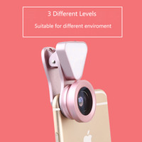 Wholesale Lieqi Phone Lens in Led Flash lights X Wide Angle X Macro Lens light kit for iPhone iPad for Huwawei Xiaomi cell phone lens