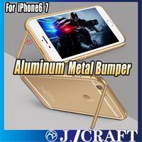 Aluminium Metal Bumper Case + Couverture de verre trempé avec fonction de support pour iphone 6s / 6s Plus iphone 7 7plus