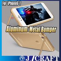 Housse en aluminium pour pare-chocs en métal + couvercle arrière en verre trempé avec fonction de support pour iphone 6s / 6s Plus iphone 7 7plus