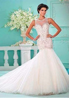 Wholesale Sexy Lace Mermaid Wedding Dresses Sheer Neck Illusion Back Beaded Sequins Puffy Tulle Skirt Court Train Bridal Gowns
