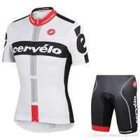 Wholesale Cervelo Cycling Jerseys White Black Short Sleeves With Padded Bib None Bib Trousers Men Summer Bicycle Clothing Size XS XL
