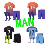 Wholesale Mixed buy new Manchester City kits Jerseys DZEKO KUN AGUERO KOMPANY TOURE YAYA DE BRUYNE Home Away kits Shirt